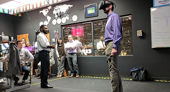 person testing out virtual simulation