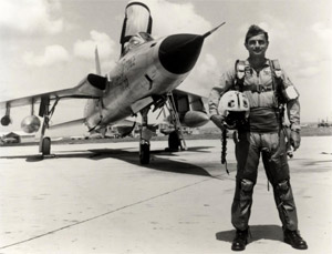 Cardenas suited up for a flight in an F-105 fighter jet in 1965.