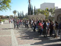 Students wait in line outside the SDSU Bookstore for Gradnite.