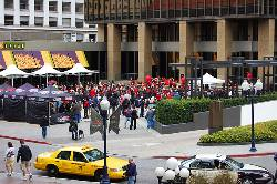 Downtown's Horton Square was a sea of red and black Friday morning.