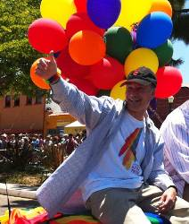 SDSU President Elliot Hirshman and Vice President for Student Affairs James Kitchen led the university's delegation of students, alumni, faculty and staff in San Diego's annual LGBT Pride Parade last Saturday, July 16. More than 100 Aztecs participated.