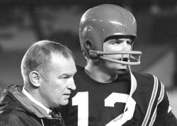 Coach Don Coryell, left, and Dennis Shaw, right, on the sidelines of an SDSU football game.  (1969).