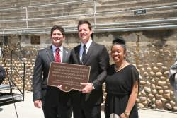 AS Executive officers hold the new plaque commemorating JFK's visit to SDSU