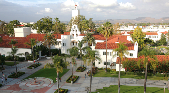 Aerial view of San Diego State University's campus. (Photo: Sandy Huffaker Jr.)