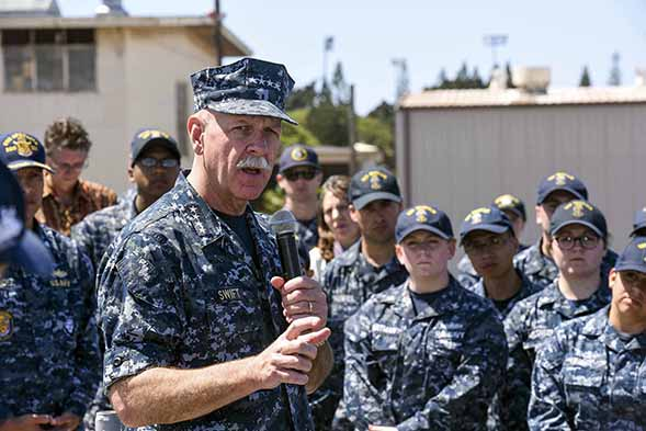 Admiral Scott Swift speaks to sailors assigned to the Pacific Surface Action Group aboard the USS Momsen. (Credit: U.S. Navy photo by Mass Communication Specialist 2nd Class Brian M. Wilbur/Released)