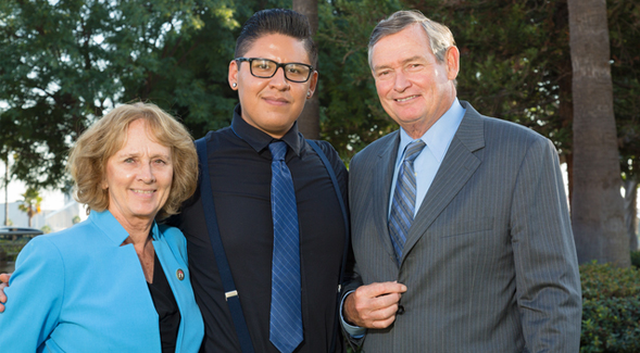 From left to right: SDSU President Sally Roush, Alejandro Arias and CSU Chancellor Timothy P. White