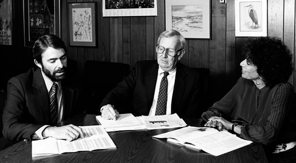 Left to right: Frank Medeiros, Albert Johnson and Joyce Gattas (Credit: SDSU University Archives Photograph Collection)