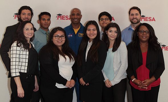 SDSU's MESA students pose with NASA astronaut Commander Victor Glover at the MESA Student Leadership Conference. (Photo: Danielle McNamara)