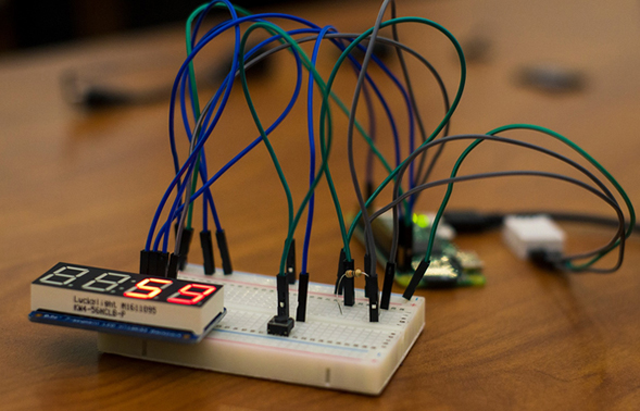 Teams at the conference built temperature and humidity sensors like the one pictured. (Photo: Jayla Lee)
