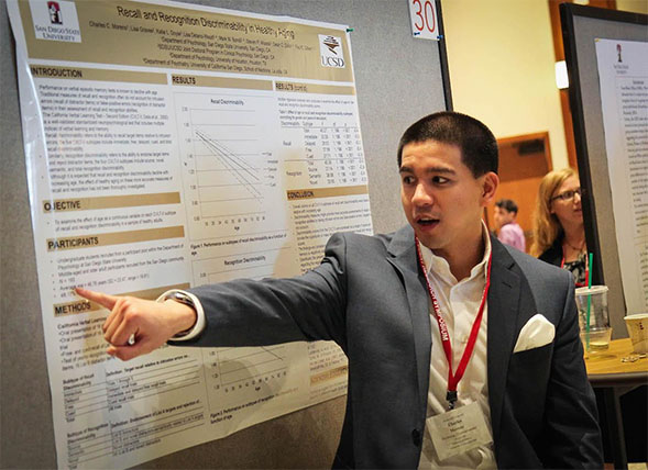 An SDSU student discusses his research at last year's Student Research Symposium.