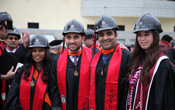 Construction engineering graduates pose for a photo prior to commencement in 2016. (Photo: Nicole Borunda)