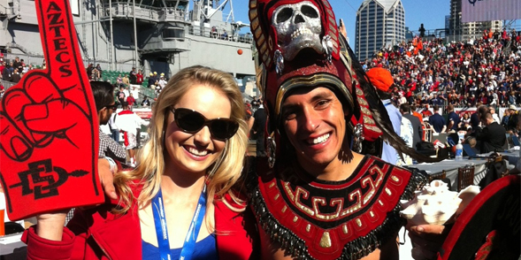 Katie with Aztec Warrior at the Battle of the Midway.