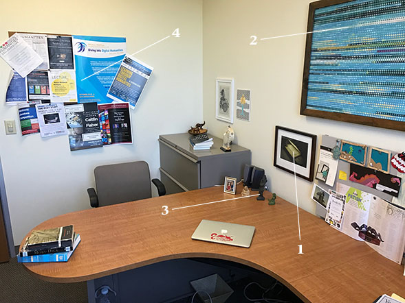 The desk of Jessica Pressman, an assistant professor in English and comparative literature and director of SDSU's Digital Humanities Initiative.