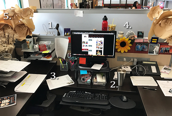 The desk of Veronica Perondi, programs coordinator for the Conrad Prebys Aztec Student Union.
