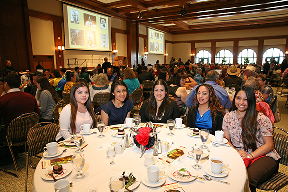 The 2015 recipients of the SDSU Cesar E. Chavez Commemorative Scholarship pose for a photo at the luncheon. (Credit: Student Affairs Communication Services)
