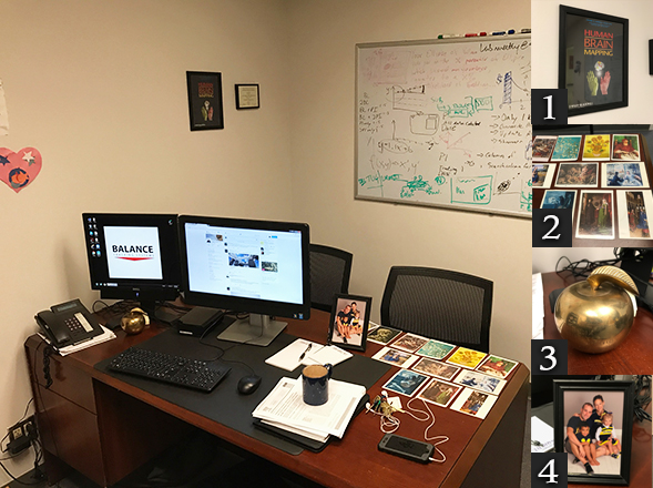 The desk of Daniel Goble, SDSU exercise and nutritional sciences associate professor.