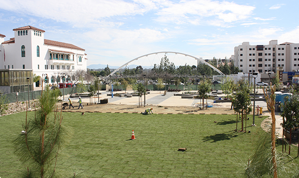 Campus Green is an urban park-like outdoor location next to South Campus Plaza that features benches, grass and trees.