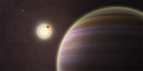 A circumbinary planet in a four-star system, discovered by