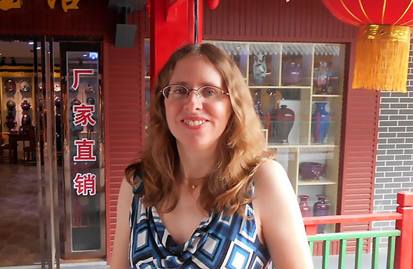 SDSU history professor Kathryn Edgerton-Tarpley in Zhengzhou, the capital of China's Henan province. (Credit: Kathryn Edgerton-Tarpley)