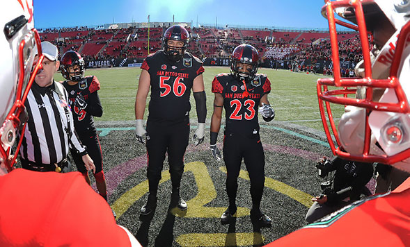 Donnel Pumphrey (left), Nico Siragusa (center) and Damontae Kazee (right) were each selected in the 2017 NFL Draft. (Credit: GoAztecs)