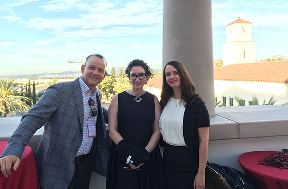 Left to Right: Bay Area Regional Council members Kent Grubaugh, ('93), and Deidre Von Rock-Ricci, ('93), with Amy Harmon, SDSU associate vice president for Development.