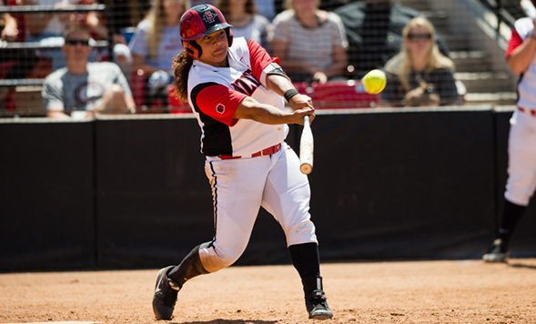 SDSU's Jenavee Peres batted .454 with 56 runs, 16 home runs and 60 RBIs during the season. (Credit: GoAztecs)