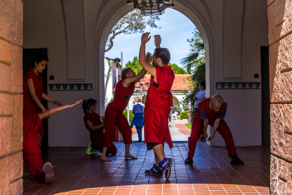 A durational dance takes place at Hepner Hall on SDSU's campus. (Photo: Brandon Means)