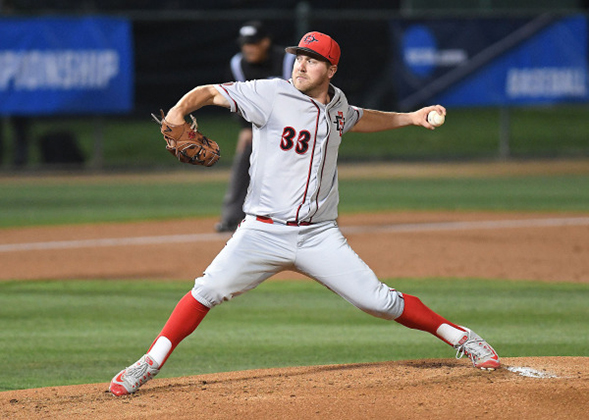 SDSU starting pitcher Brett Seeburger was selected in the 10th round of the 2017 MLB Draft by the St. Louis Cardinals. (Photo: Ernie Anderson)