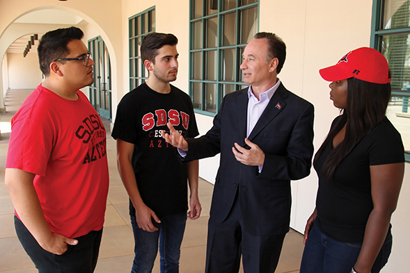 SDSU President Elliot Hirshman speaks with students. (Photo: Jeneene Chatowsky)