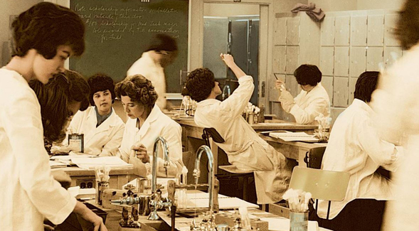 Women conduct experiments in a microbiology laboratory in the 1950s.