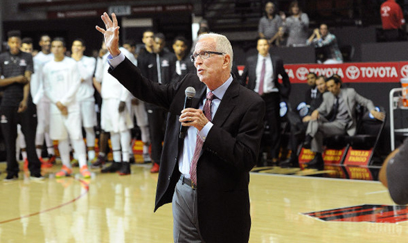Steve Fisher guided the Aztecs to a 386-209 record in 18 seasons as the head basketball coach at SDSU. (Credit: GoAztecs)