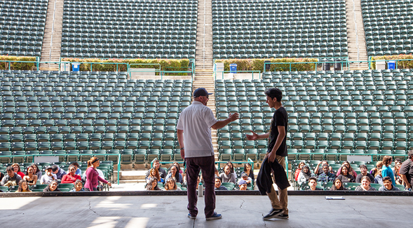 Health Sciences High and Middle College rehearse for graduation at SDSU's Cal Coast Credit Union Open Air Theatre.
