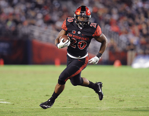 SDSU running back Rashaad Penny Penny rushed for 100 or more yards in five games in 2016. (Photo: Ernie Anderson)