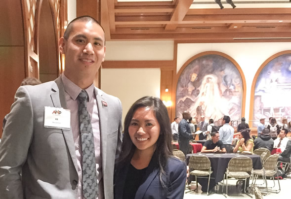 Through the Aztec Mentor Program, Kevin Barcelona ('08) helped Susan Nguyen ('16) see her potential in a student development career.
