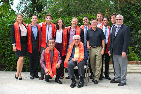 Leonard Lavin (seated) was awarded an honorary degree by SDSU in 2012.