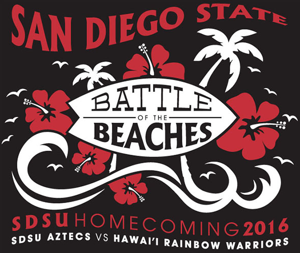 "Keli Colombini's winning ""Battle of the Beaches"" logo design for 2016 SDSU Homecoming."