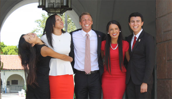 Morse (center) with his fellow Associated Students executive officers.