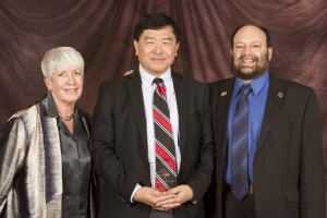 Professor Tong with Cathie Atkins, SDSU associate dean of Sciences, and Mike Goldman, chair of the CSUPERB program.