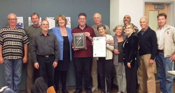 Doug Case recognized by San Diego councilmember Marti Emerald at the CACC meeting.