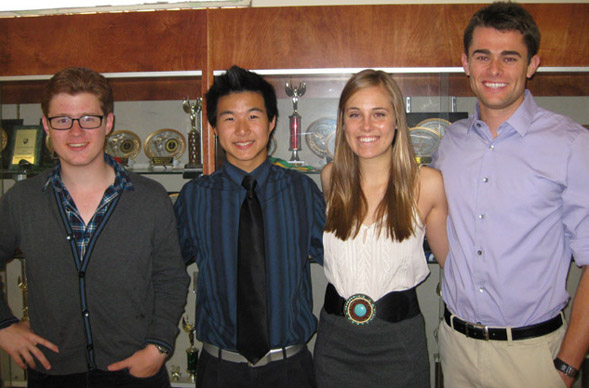 Alexander James, Andrew Won, Jessika Seekatz and Gib Faller are all members of the current Aztec Debate team