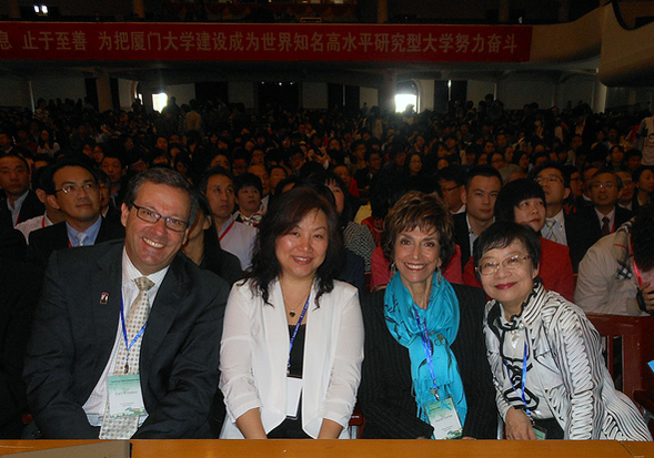 From left to right: Carl Winston, Mei Zhong, Dean Joyce Gattas and Lilly Cheng.