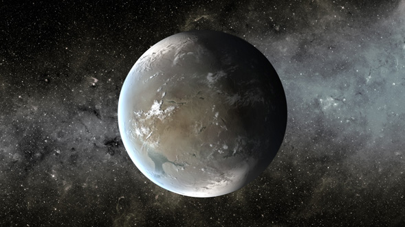 An artist's rendition of the Kepler-62f exoplanet, the most Earth-like planet found to date on the Kepler mission. Credit: NASA/Ames/JPL-Caltech