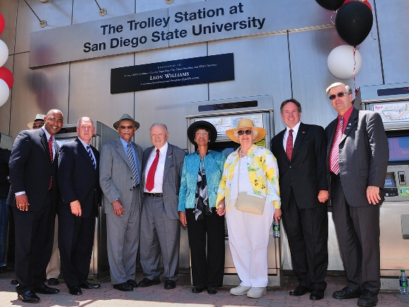 Leeon Williams, joined by friends and family,  was critical in bringing the trolley to San Diego State.