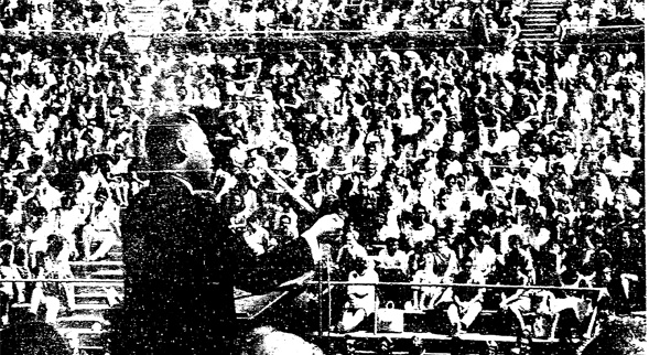 This scanned newspaper photo is the only image SDSU has of Martin Luther King Jr.'s historic SDSU speech. Credit: The San Diego Union, 1964.