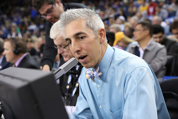 Golden State Warriors PA announcer Matthew Hurwitz ('93) courtside. Photo courtesy of Golden State Warriors