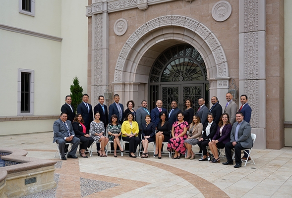 The National Community College Hispanic Leadership Fellows Program hosts about 25 administrators annually. Pictured above: the 2019 cohort, at the University of San Diego.