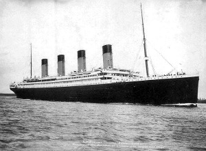 The Titanic sailing the open sea.