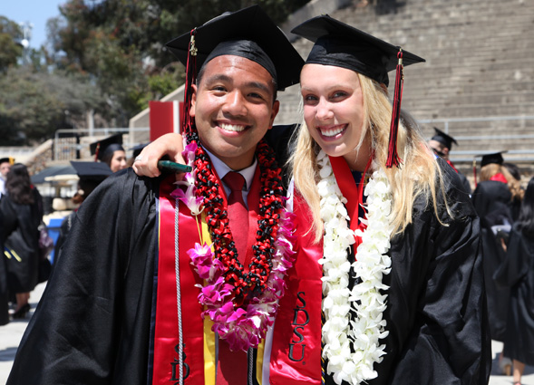 Twitter users can follow commencement tweets by searching for #sdsugrad.
