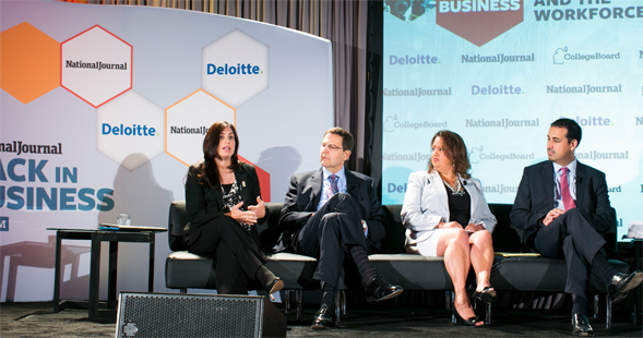 Janet Abbott (left) spoke on innovation in education at the Back in Business Forum held in Washington, D.C. on June 19. (Photo courtesy of National Journal)