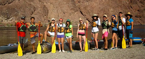 The course enables students to participate in adventures including a canoeing trip on the Colorado River.
